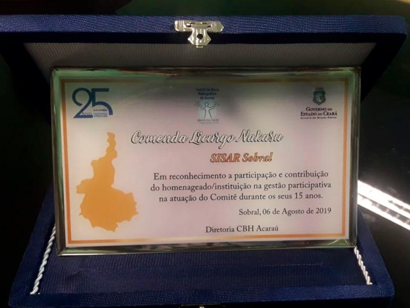 Sisar de Sobral recebe comenda do Comitê da Bacia Hidrográfica do Acaraú